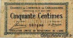 50 Centimes FRANCE régionalisme et divers CARCASSONNE 1922 JP.038.19 TB