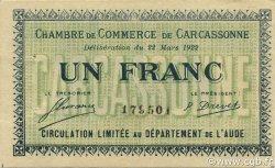 1 Franc FRANCE régionalisme et divers CARCASSONNE 1922 JP.038.21 SPL à NEUF
