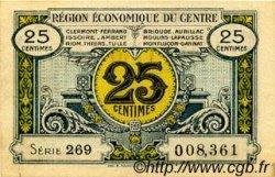 25 Centimes FRANCE régionalisme et divers RÉGION ÉCONOMIQUE DU CENTRE 1918 JP.040.01 SPL à NEUF