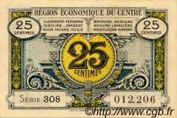 25 Centimes FRANCE régionalisme et divers Région Économique Du Centre 1918 JP.040.01 TTB à SUP