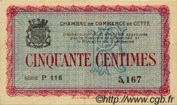 50 Centimes FRANCE régionalisme et divers CETTE ACTUELLEMENT SETE 1915 JP.041.01 TTB à SUP