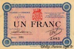 1 Franc FRANCE régionalisme et divers CETTE ACTUELLEMENT SETE 1915 JP.041.05 TTB à SUP