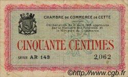 50 Centimes FRANCE régionalisme et divers CETTE ACTUELLEMENT SETE 1915 JP.041.12 TB