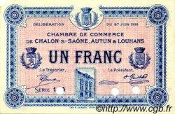 1 Franc FRANCE régionalisme et divers Châlon-Sur-Saône, Autun et Louhans 1916 JP.042.05 TTB à SUP