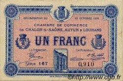 1 Franc FRANCE régionalisme et divers CHÂLON-SUR-SAÔNE, AUTUN ET LOUHANS 1916 JP.042.10 TTB à SUP