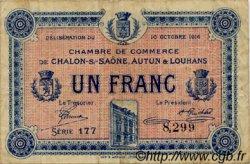 1 Franc FRANCE régionalisme et divers Châlon-Sur-Saône, Autun et Louhans 1916 JP.042.10 TB