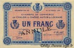 1 Franc FRANCE régionalisme et divers CHÂLON-SUR-SAÔNE, AUTUN ET LOUHANS 1916 JP.042.11 SPL à NEUF