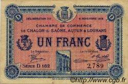 1 Franc FRANCE régionalisme et divers Châlon-Sur-Saône, Autun et Louhans 1918 JP.042.18 TTB à SUP