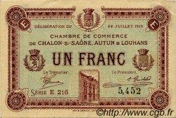 1 Franc FRANCE régionalisme et divers Châlon-Sur-Saône, Autun et Louhans 1919 JP.042.22 TTB à SUP