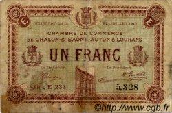1 Franc FRANCE régionalisme et divers CHÂLON-SUR-SAÔNE, AUTUN ET LOUHANS 1919 JP.042.22 TB