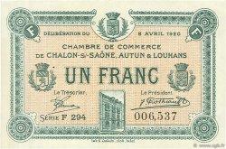 1 Franc FRANCE régionalisme et divers CHÂLON-SUR-SAÔNE, AUTUN ET LOUHANS 1920 JP.042.26 SPL à NEUF