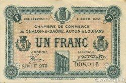 1 Franc FRANCE régionalisme et divers CHÂLON-SUR-SAÔNE, AUTUN ET LOUHANS 1920 JP.042.26 TTB à SUP