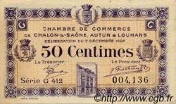 50 Centimes FRANCE régionalisme et divers CHÂLON-SUR-SAÔNE, AUTUN ET LOUHANS 1920 JP.042.28 TTB à SUP
