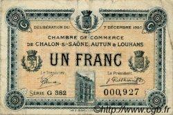 1 Franc FRANCE régionalisme et divers Châlon-Sur-Saône, Autun et Louhans 1920 JP.042.30 TB