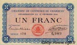 1 Franc FRANCE régionalisme et divers Chambéry 1916 JP.044.05 TTB à SUP