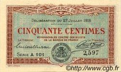 50 Centimes FRANCE régionalisme et divers CHAMBÉRY 1916 JP.044.07 SPL à NEUF