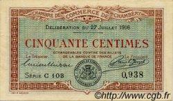 50 Centimes FRANCE régionalisme et divers CHAMBÉRY 1916 JP.044.07 TTB à SUP