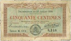 50 Centimes FRANCE régionalisme et divers CHAMBÉRY 1916 JP.044.07 TB