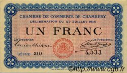 1 Franc FRANCE régionalisme et divers CHAMBÉRY 1916 JP.044.09 TTB à SUP