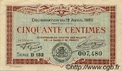 50 Centimes FRANCE régionalisme et divers CHAMBÉRY 1920 JP.044.11 TTB à SUP