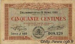 50 Centimes FRANCE régionalisme et divers Chambéry 1920 JP.044.11 TB
