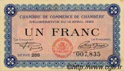 1 Franc FRANCE régionalisme et divers Chambéry 1920 JP.044.14 TTB à SUP