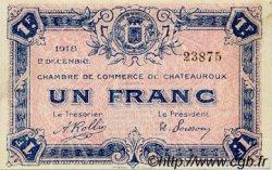 1 Franc FRANCE régionalisme et divers CHATEAUROUX 1918 JP.046.19 TTB à SUP