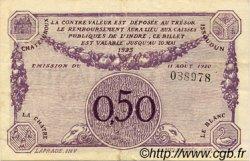 50 Centimes FRANCE régionalisme et divers CHATEAUROUX 1920 JP.046.24 TTB à SUP