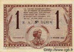 1 Franc FRANCE régionalisme et divers Chateauroux 1922 JP.046.30 TTB à SUP