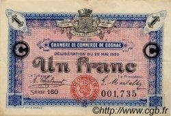 1 Franc FRANCE régionalisme et divers COGNAC 1920 JP.049.10 TTB à SUP