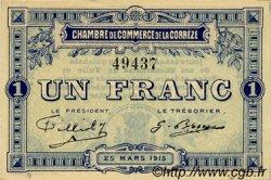 1 Franc FRANCE régionalisme et divers Corrèze 1915 JP.051.03 TTB à SUP