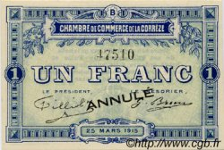 1 Franc FRANCE régionalisme et divers CORRÈZE 1915 JP.051.07 SPL à NEUF
