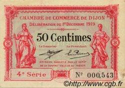 50 Centimes FRANCE régionalisme et divers DIJON 1919 JP.053.17 TTB à SUP