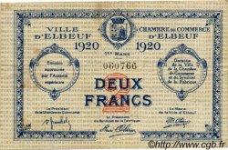 2 Francs FRANCE régionalisme et divers ELBEUF 1920 JP.055.20 TTB à SUP
