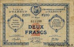 2 Francs FRANCE régionalisme et divers ELBEUF 1920 JP.055.20 TB