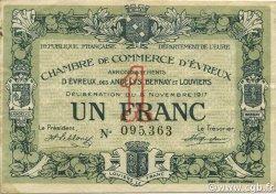 1 Franc FRANCE régionalisme et divers ÉVREUX 1917 JP.057.12 TTB à SUP