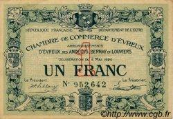 1 Franc FRANCE régionalisme et divers Évreux 1920 JP.057.15 TTB à SUP