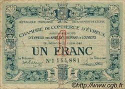 1 Franc FRANCE régionalisme et divers Évreux 1920 JP.057.17 TB