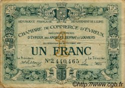 1 Franc FRANCE régionalisme et divers Évreux 1920 JP.057.19 TB