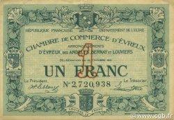 1 Franc FRANCE régionalisme et divers ÉVREUX 1921 JP.057.20 TTB à SUP