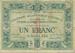 1 Franc FRANCE régionalisme et divers ÉVREUX 1921 JP.057.20 TB