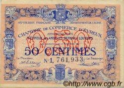 50 Centimes FRANCE régionalisme et divers ÉVREUX 1921 JP.057.21 TTB à SUP