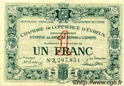 1 Franc FRANCE régionalisme et divers Évreux 1921 JP.057.23 TTB à SUP