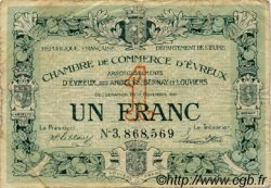 1 Franc FRANCE régionalisme et divers ÉVREUX 1921 JP.057.23 TB