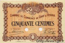 50 Centimes FRANCE régionalisme et divers GRAY ET VESOUL 1915 JP.062.02 SPL à NEUF