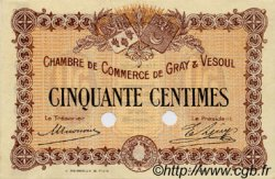 50 Centimes FRANCE régionalisme et divers Gray et Vesoul 1915 JP.062.02 TTB à SUP