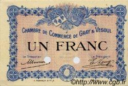 1 Franc FRANCE régionalisme et divers Gray et Vesoul 1915 JP.062.04 TTB à SUP