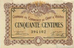 50 Centimes FRANCE régionalisme et divers GRAY ET VESOUL 1915 JP.062.07 SPL à NEUF