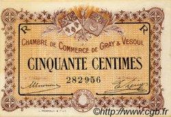 50 Centimes FRANCE régionalisme et divers GRAY ET VESOUL 1915 JP.062.07 TTB à SUP
