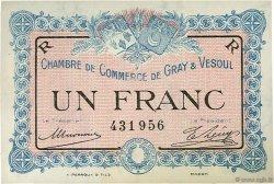 1 Franc FRANCE régionalisme et divers GRAY ET VESOUL 1915 JP.062.09 SPL à NEUF